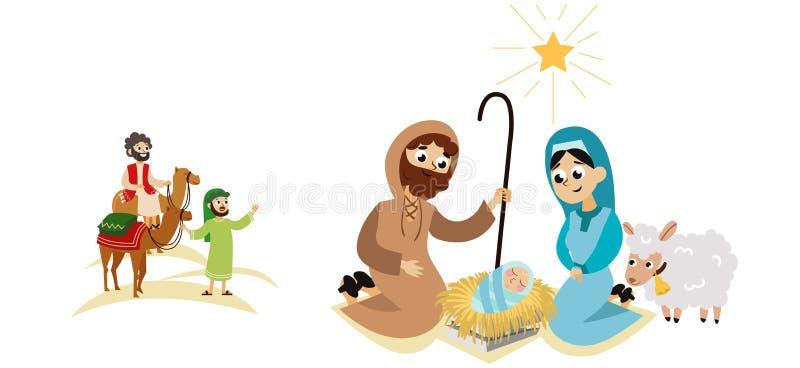 Personnages de dessin animé de scène d'histoire de huche de Bethlehem de nativité de Noël illustration libre de droits
