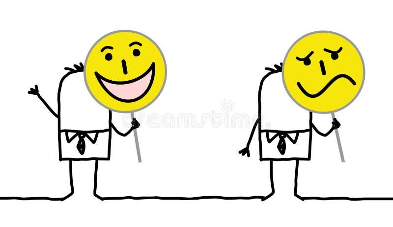 Personnages de dessin animé tenant des signes d'émoticône illustration stock