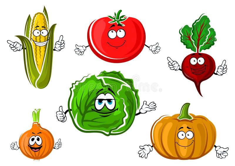 Personnages de dessin animé végétaux automnaux heureux illustration stock