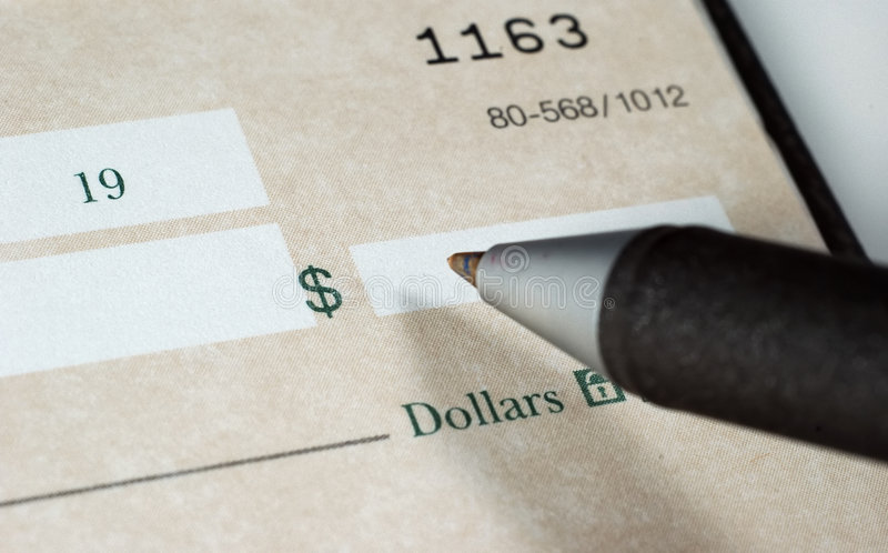 Personnalisation de chèques 2 images stock