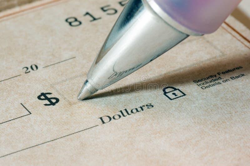 Personnalisation de chèques image stock
