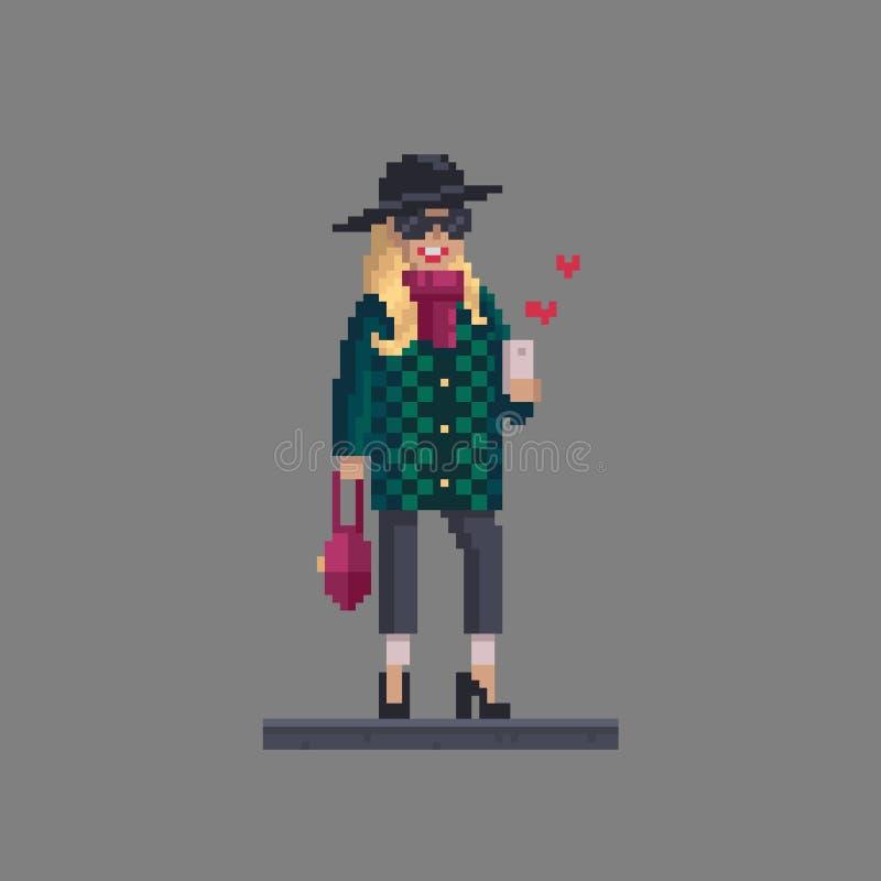 Personnalité de femme d'art de pixel Fille élégante de mode avec le téléphone portable illustration libre de droits