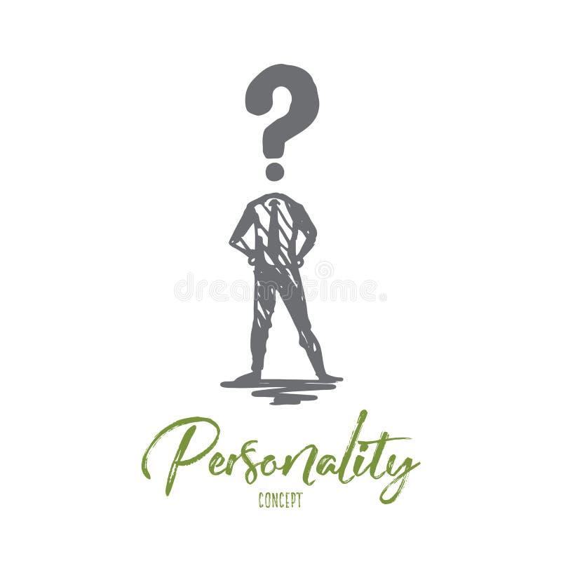 Personnalité, personne, chef, humain, concept de profil Vecteur d'isolement tiré par la main illustration libre de droits