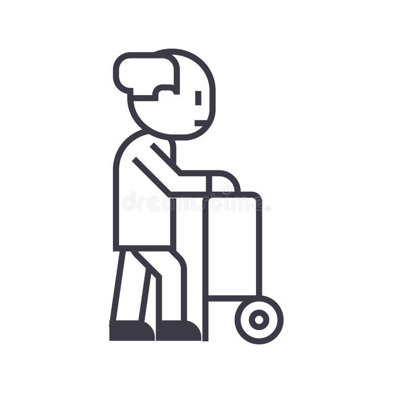 Personne âgée avec la barbe et ligne icône, signe, illustration de vecteur de bâton de marche sur le fond, courses editable illustration de vecteur