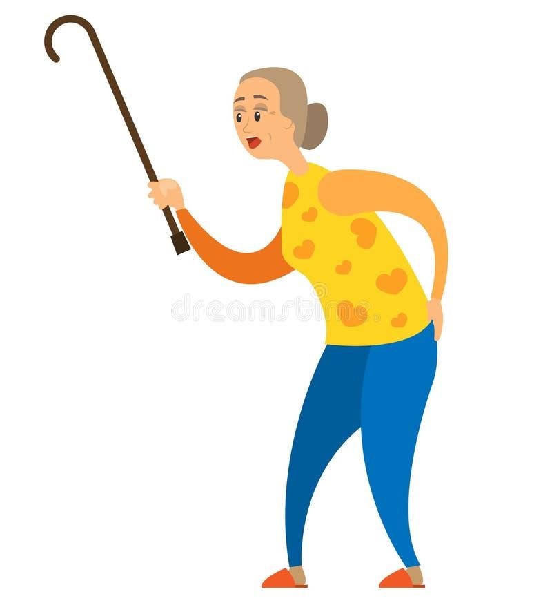 Personne âgée avec le vecteur de bâton, de retraité et de baguette magique illustration stock