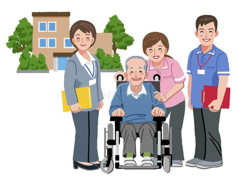 Personne âgée gaie dans le fauteuil roulant avec son travailleur social de soins illustration stock