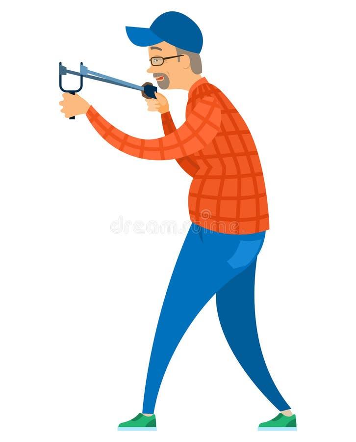 Personne âgée visant avec la catapulte, vecteur d'amusement illustration stock