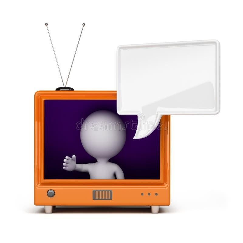personne 3d à la TV illustration stock