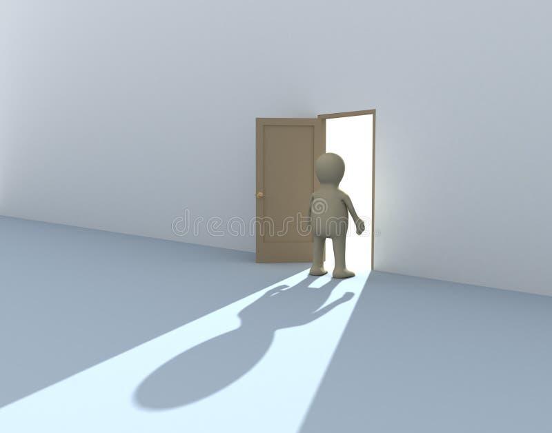 personne 3d à une porte ouverte illustration de vecteur