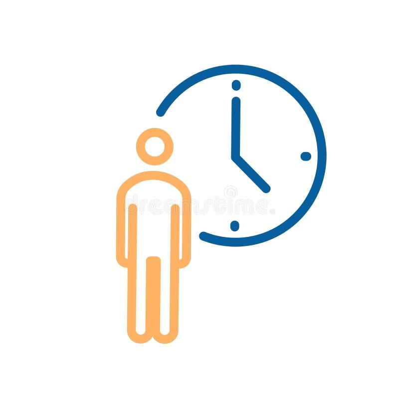 Personne avec l'icône d'horloge Illustration au trait mince vecteur pour des concepts des affaires, la livraison, ordre, attendan illustration stock