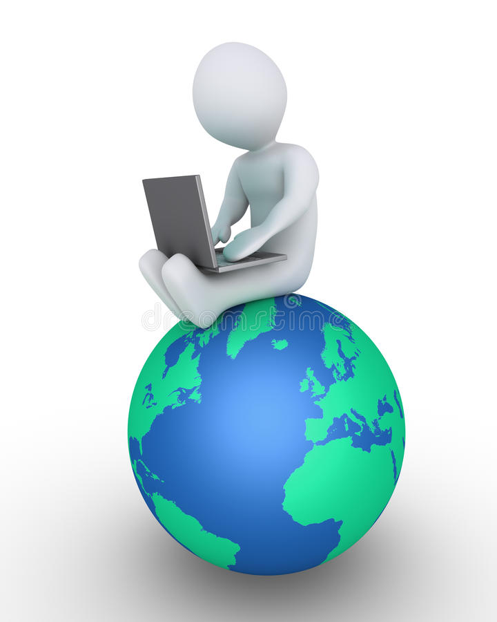 Personne avec l'ordinateur portable sur le globe illustration stock