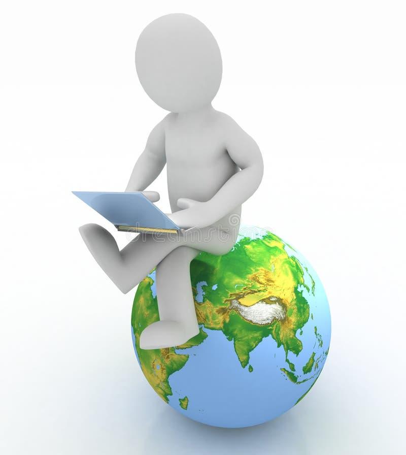 Personne avec un ordinateur portatif et un globe illustration stock