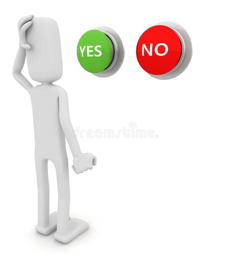 Personne choisissant entre oui ou non illustration stock