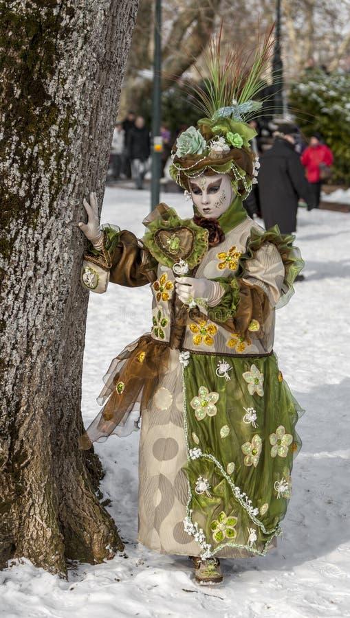 Personne déguisée - carnaval vénitien 2013 d'Annecy photo libre de droits