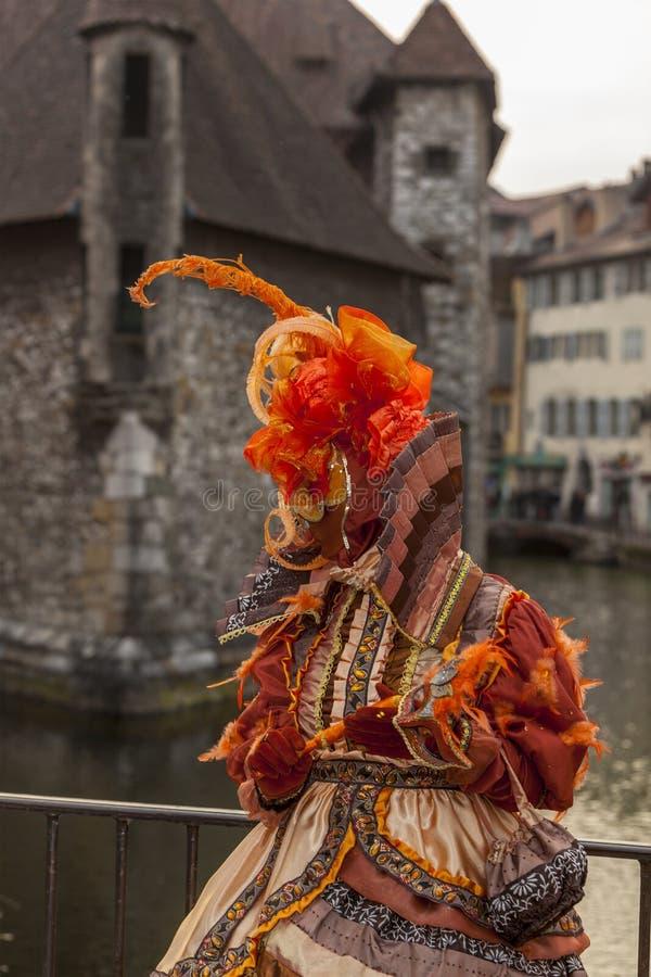 Personne déguisée - carnaval vénitien 2014 d'Annecy image libre de droits