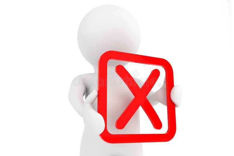 personne 3d avec le symbole négatif rouge dans des mains illustration libre de droits