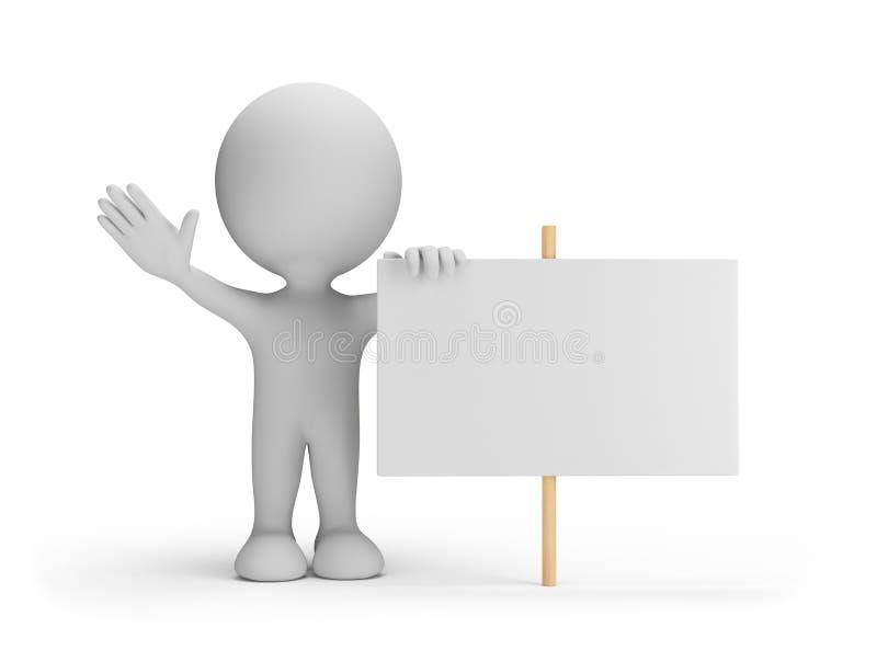 personne 3d avec un panneau d'affichage illustration stock