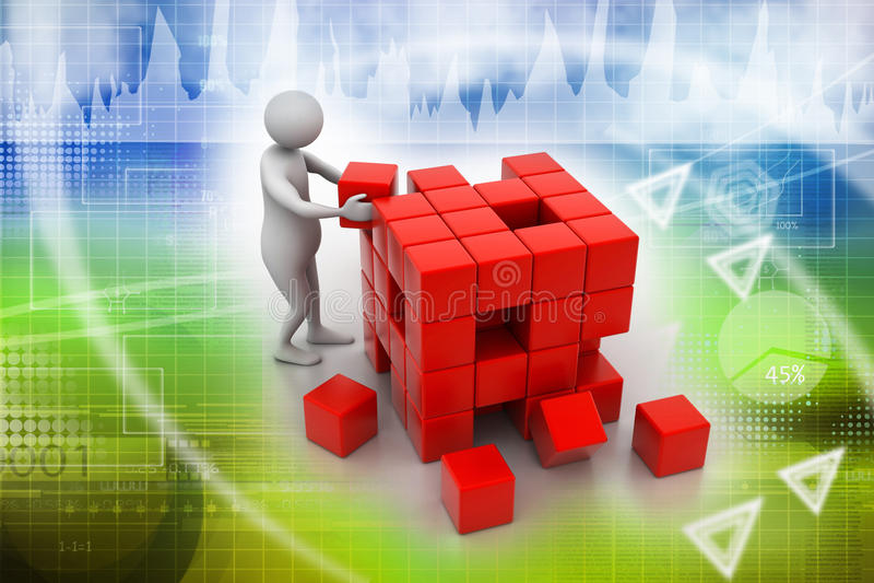 personne 3d poussant un cube illustration stock
