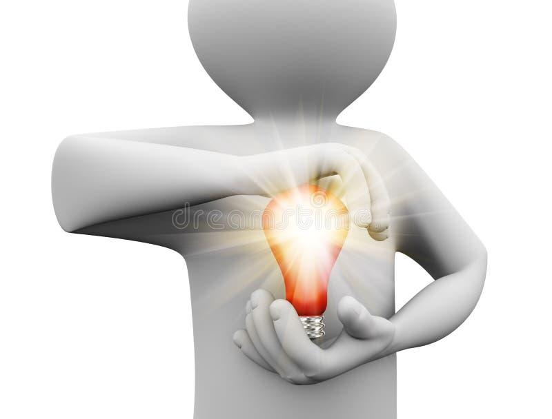 personne 3d tenant l'ampoule illustration de vecteur