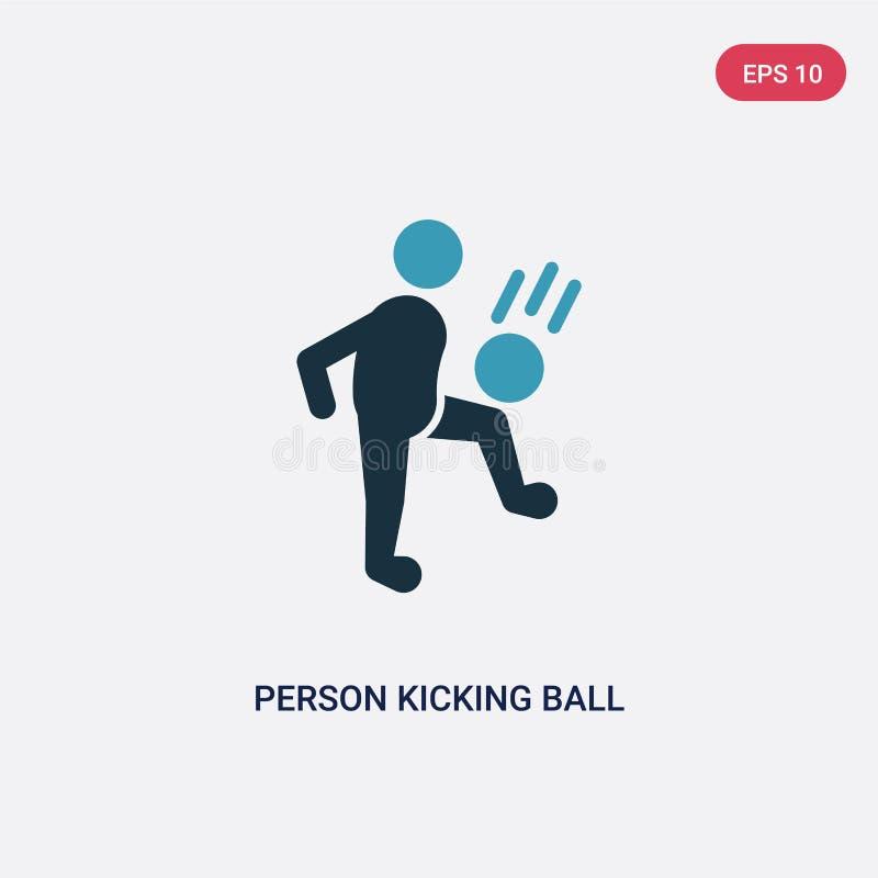 Personne de deux couleurs donnant un coup de pied la boule avec l'icône de vecteur de genou du concept de sports personne bleue d illustration libre de droits