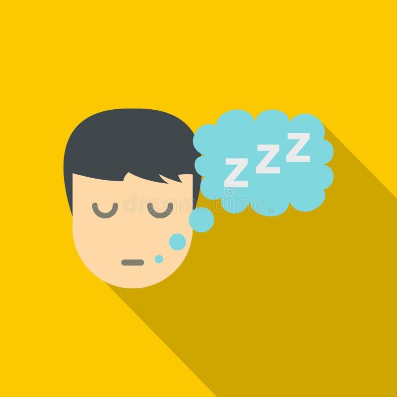 Personne de sommeil avec la bulle de pensée de l'icône de z illustration libre de droits