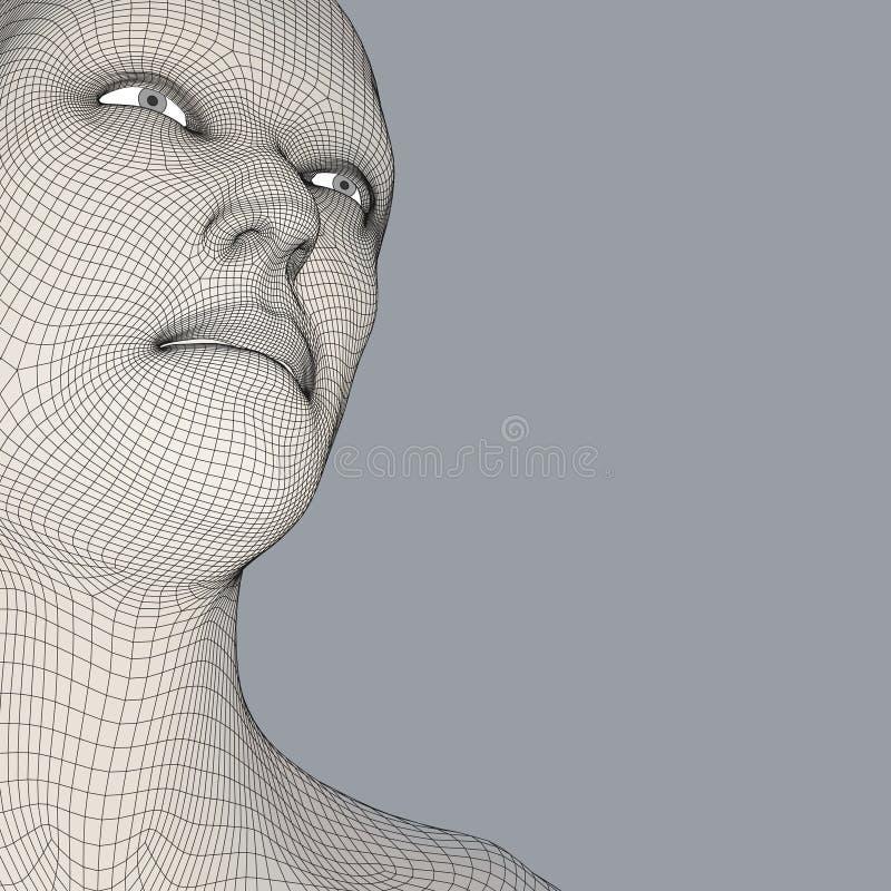 personne de tête du réseau 3d Modèle de fil de tête humaine Tête humaine de polygone Balayage de visage Vue de tête humaine visag illustration libre de droits