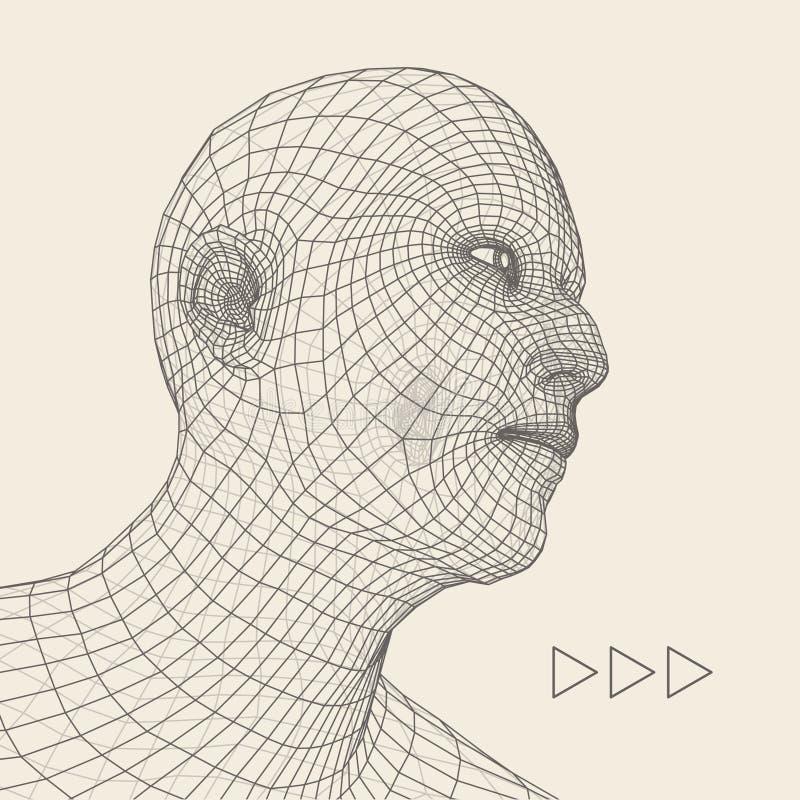 personne de tête du réseau 3d Modèle de fil de tête humaine Tête humaine de polygone Balayage de visage Vue de tête humaine visag illustration de vecteur