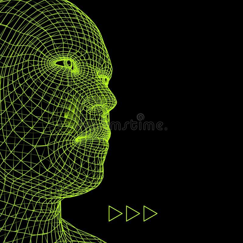personne de tête du réseau 3d Modèle de fil de tête humaine Tête humaine de polygone Balayage de visage Vue de tête humaine visag illustration stock