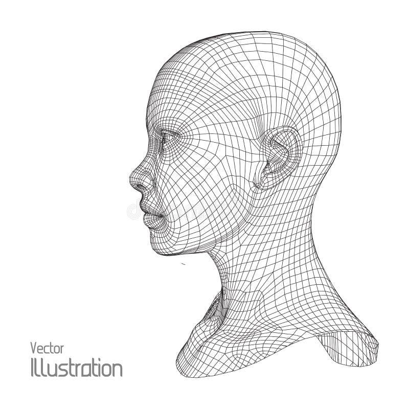 personne de tête du réseau 3d Modèle humain de fil polygone Balayage de visage Vue Dessin géométrique polygonal illustration libre de droits