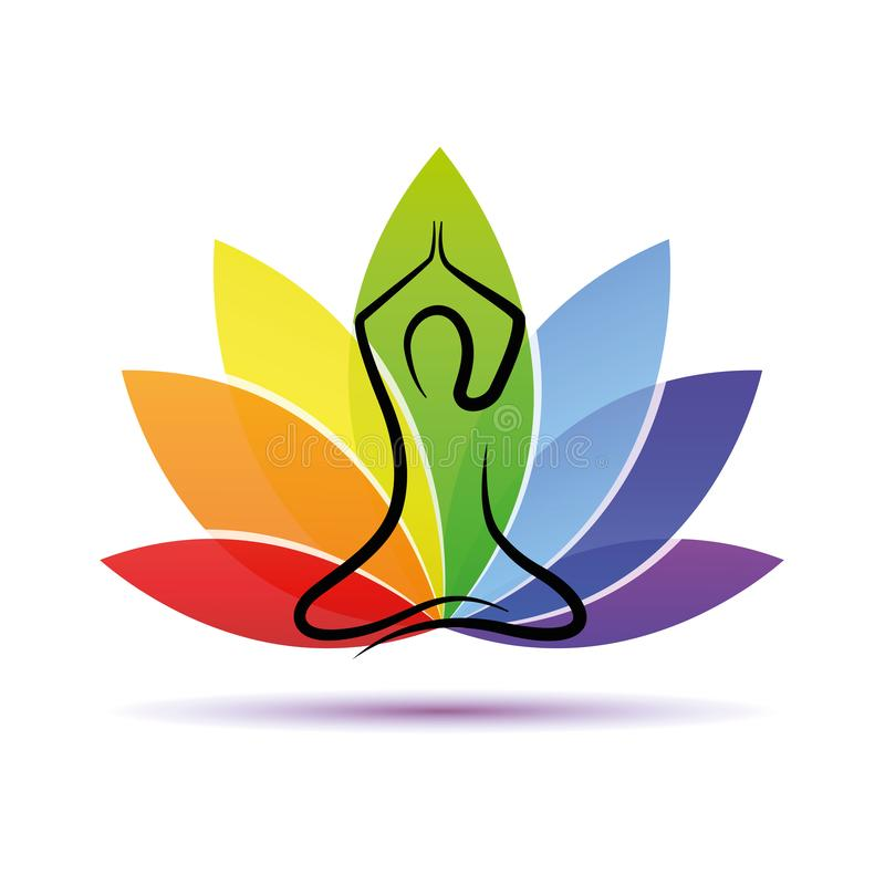 Personne de yoga de dessin de main s'asseyant dans des couleurs d'un arc-en-ciel de pose de lotus illustration stock