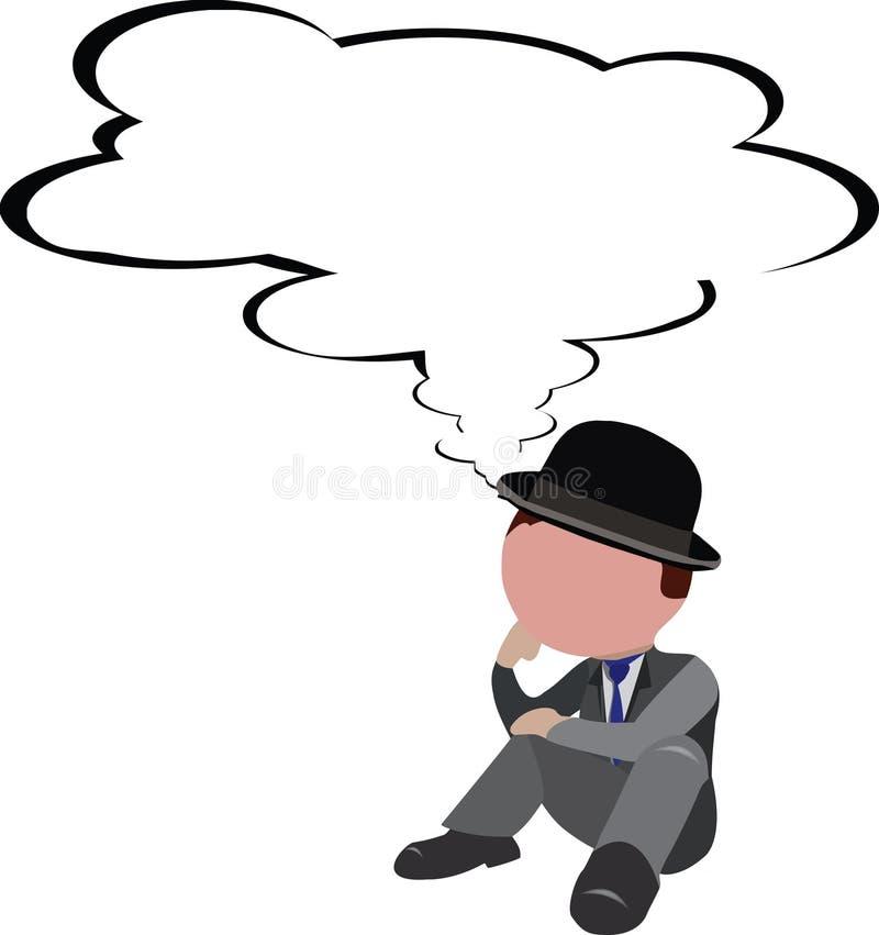 Personne distincte reposant songeur inquiété illustration de vecteur