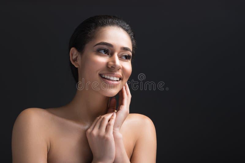 Personne féminine nue étant effarouchée photographie stock
