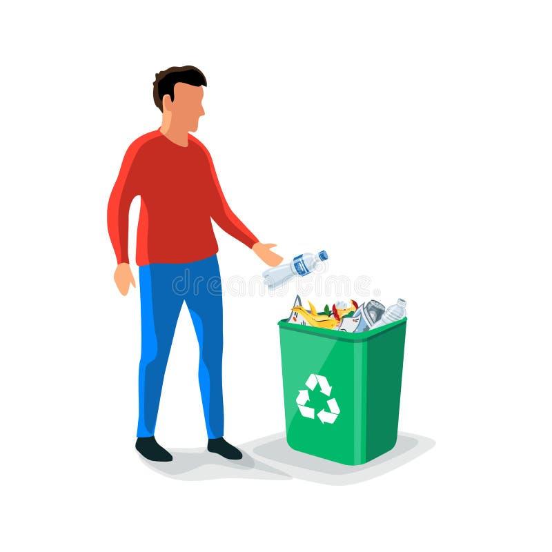 Personne jetant les déchets en plastique dans le bac de recyclage illustration libre de droits