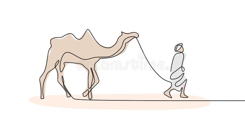 Personne marchant avec le chameau sur continu conception minimale dessert un de dessin au trait illustration de vecteur
