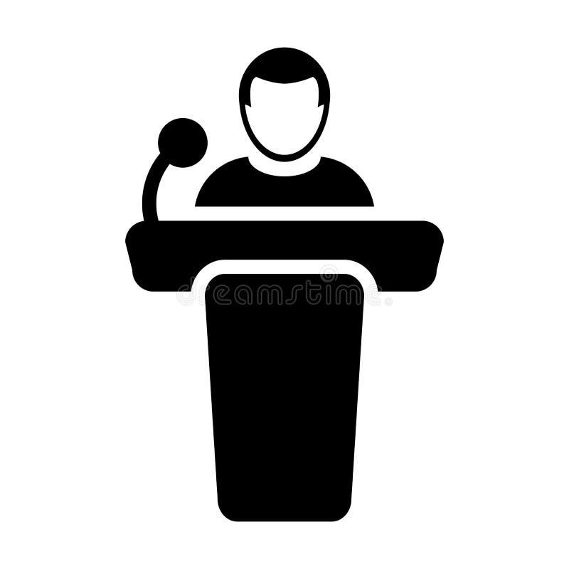 Personne masculine de vecteur d'icône de prise de parole en public sur le podium illustration de vecteur
