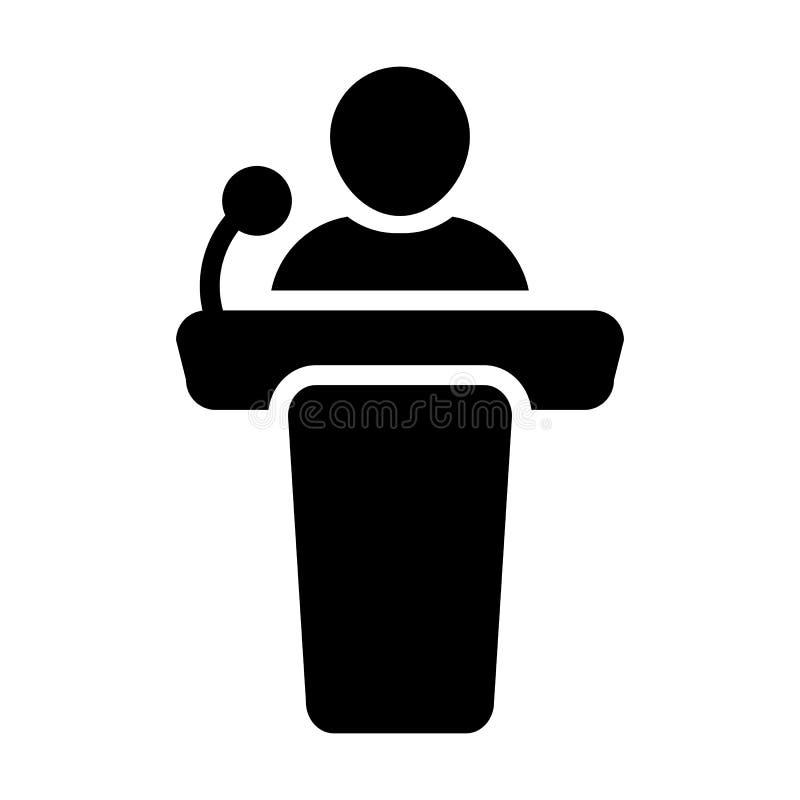 Personne masculine de vecteur d'icône de prise de parole en public sur le podium illustration libre de droits