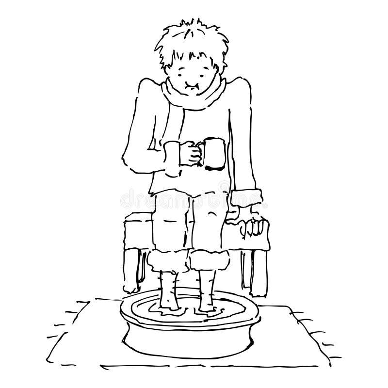 Personne mauvaise avec ses pattes dans un bassin de l'eau illustration stock