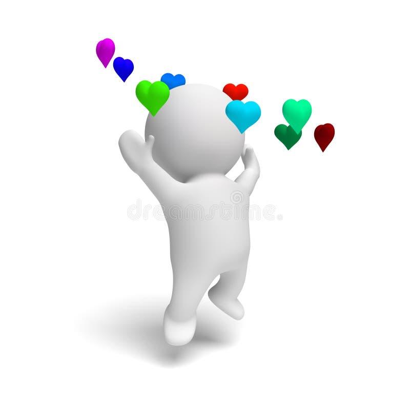 Personne mignonne de l'humain 3d sautant heureusement dans un anneau des coeurs colorés dans une illustration blanche de la scène illustration libre de droits