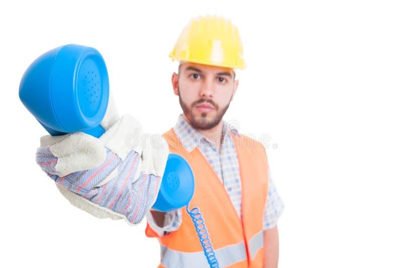 Personne ou aide de contact pour l'entreprise de construction photographie stock