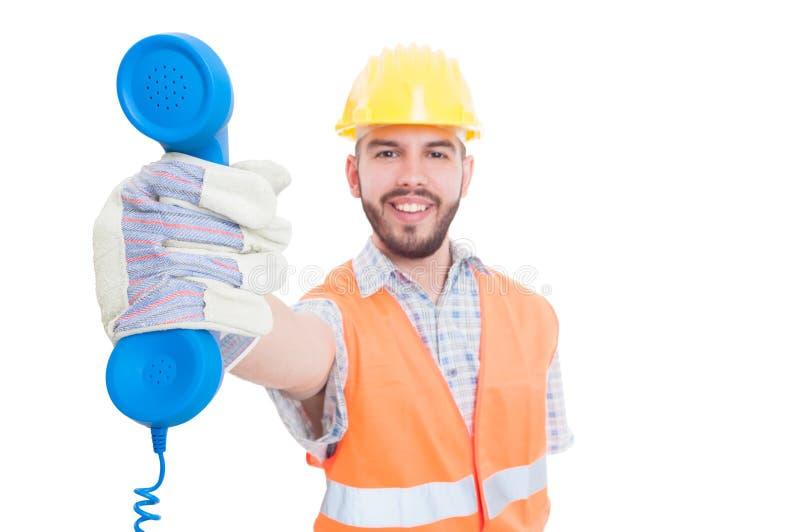 Personne ou soutien de contact d'entreprise de construction photographie stock libre de droits