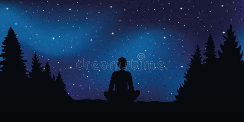 Personne s'asseyante dans des regards de pose de méditation dans le ciel étoilé illustration de vecteur