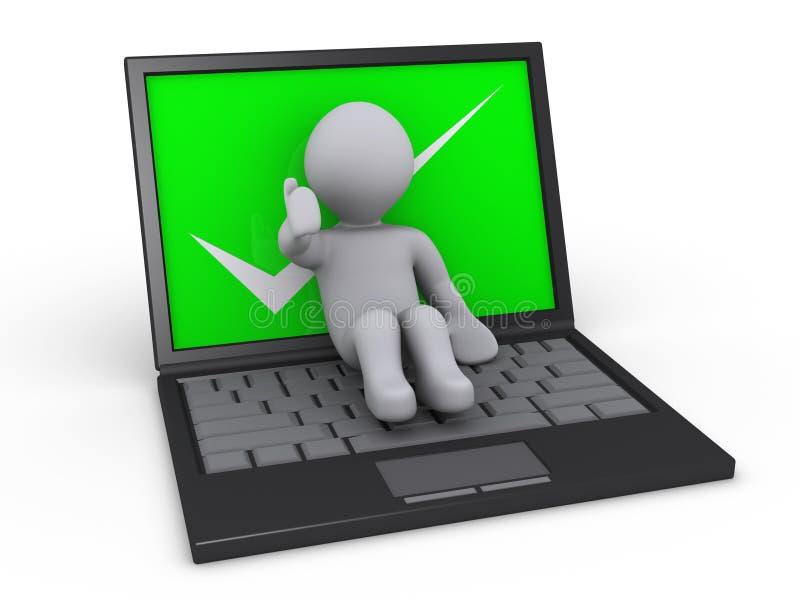 Personne se trouvant sur l'ordinateur portatif illustration de vecteur