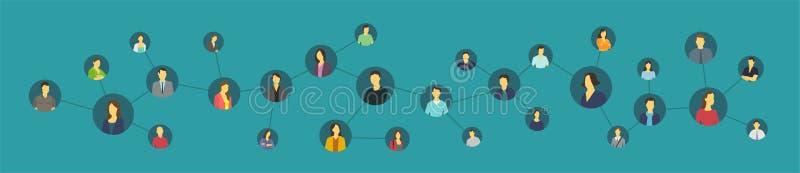 Personne sociale de réseau Avatars unis de liens illustration stock
