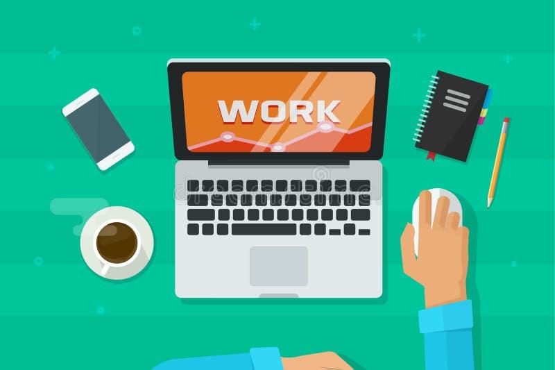 Personne travaillant sur l'ordinateur portable analysant l'illustration de vecteur, concept des mains d'indépendant sur le lieu d illustration libre de droits