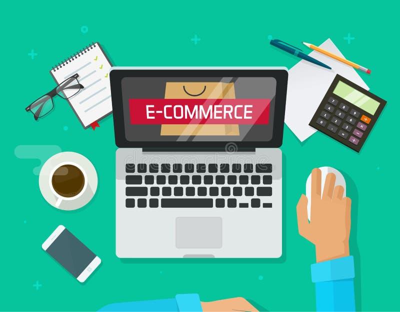 Personne travaillant sur l'ordinateur portable analysant la technologie de magasin de commerce électronique illustration de vecteur