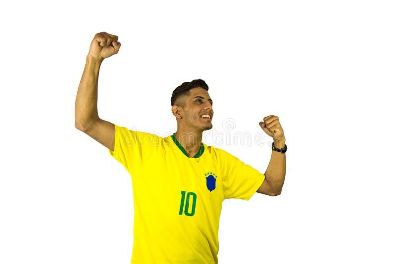 Personne vibrante du football brésilien de fan photo libre de droits