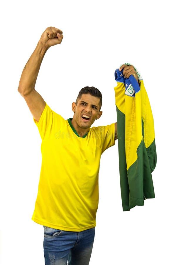 Personne vibrante du football brésilien de fan photos stock