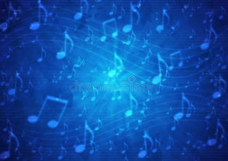 Personnel abstrait de notes de musique à l'arrière-plan bleu-foncé sale trouble illustration de vecteur