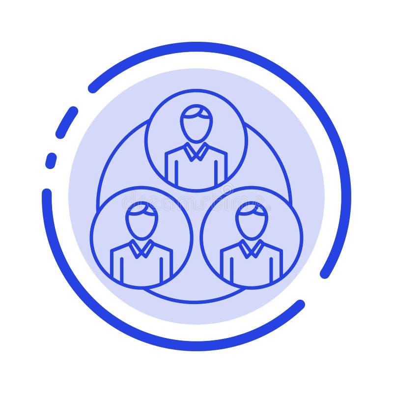 Personnel, bande, clone, ligne pointillée bleue ligne icône de cercle illustration stock