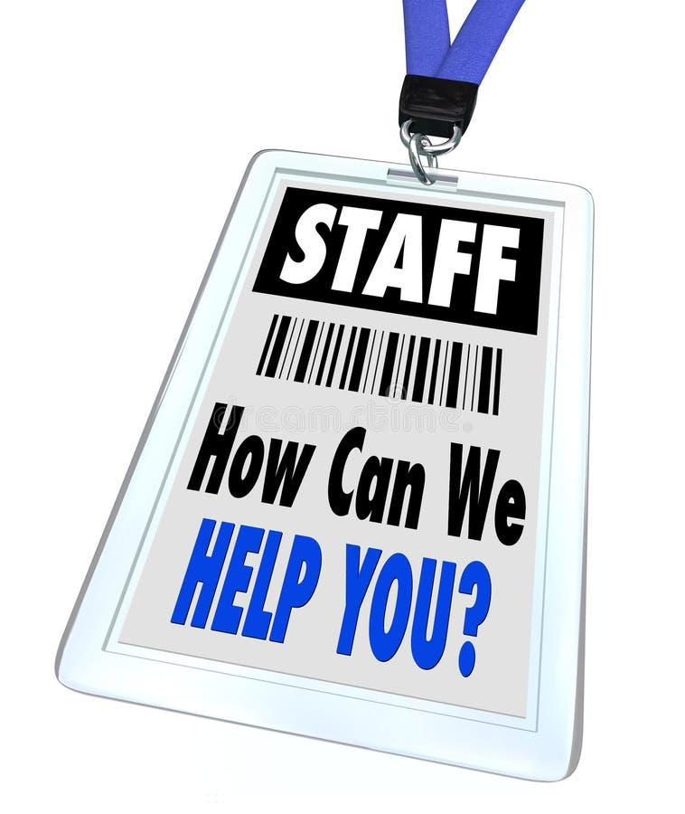 Personnel - comment pouvons nous vous aidons - lanière et insigne illustration de vecteur